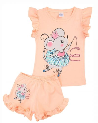 """Костюм для девочек 1-4 лет Bonito kids """"Mouse ballerina"""" персиковый"""