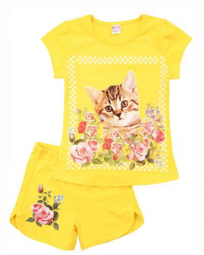 """Костюм для девочек 4-8 лет Bonito kids """"Cat and flowers"""" желтый"""