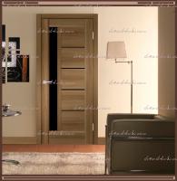 Межкомнатная дверь PREMIER 3  Орех Золотой, стекло - ЛАКОБЕЛЬ Чёрное :