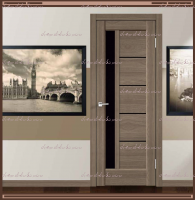 Межкомнатная дверь PREMIER 3  Ильм европейский, стекло - ЛАКОБЕЛЬ Чёрное :