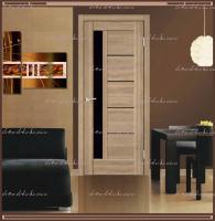 Межкомнатная дверь PREMIER 3  Дуб европейский, стекло - ЛАКОБЕЛЬ Чёрное :