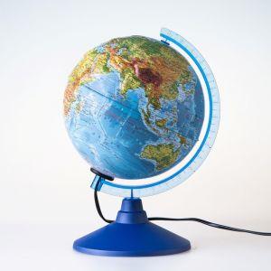 Глoбус физический рельефный «Классик Евро», диаметр 250 мм, с подсветкой