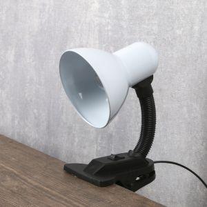 Лампа настольная Е27, с выкл. на зажиме (220В) белая 26х13х11   3723904