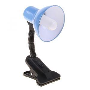 Настольная лампа на прищепке с кнопкой, голубая, провод 78 см