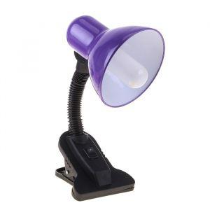 Настольная лампа на прищепке с кнопкой, фиолетовая, провод 78 см