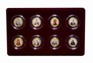 НАБОР 10 рублей рублей (8шт) — ПРАВОСЛАВНЫЕ СВЯТЫЕ, цветная эмаль + гравировка