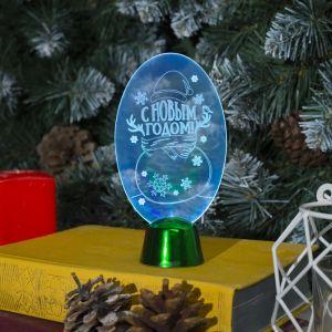 """Подставка световая """"Снеговик"""", 14.5х7.5 см, 1 LED, батарейки в комплекте, RGB микс 2446488"""