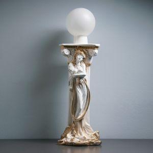 """Лампа интерьерная """"Девушка у колонны"""" шар, белое золото 90см 3691393"""
