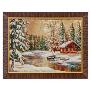 """E012-30х40 Картина из гобелена """"Избушка в зимнем лесу"""" (35х45) 4889371"""