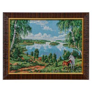 """E051-30x40 Картина из гобелена """"Озеро с березками и пара лошадей"""" (35х45) 4889373"""