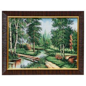 "Картина из гобелена ""Мостик через лесную речку"", 35х45 см"