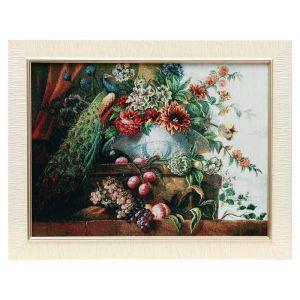 "Картина из гобелена ""Павлин и ваза с цветами"", 45х62 см"