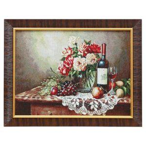 "Картина из гобелена ""Вино и фрукты на ажурной салфетке"", 35х45 см"