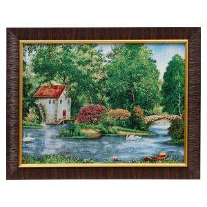"""Картина из гобелена """"Домик у озера с каменным мостом"""", 35х45 см"""