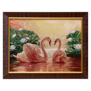"""M078-30x40 Картина из гобелена """"Лебеди в цветущем пруду"""" (35х45) 4889402"""
