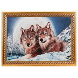 """Картина из гобелена """"Волки в полнолуние"""" (44х64)"""