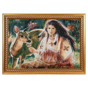 """Картина из гобелена """"Индианка и олененок"""" (45х65)"""