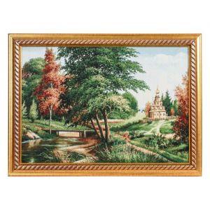 """Картина из гобелена """"Церковь на пригорке"""" (44х64)"""