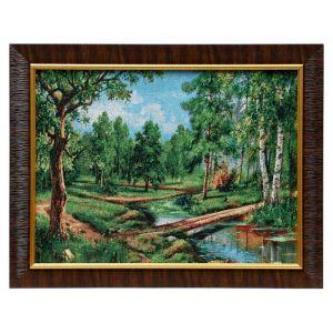 """Картина из гобелена """"Сосновый переход в лесу"""", 35х45 см"""