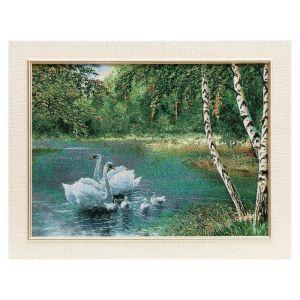 "Картина из гобелена ""Стая белых лебедей у березок"", 35х45 см"