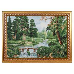 """Картина из гобелена """"Лес, мостик и лебеди"""" (44х64)"""
