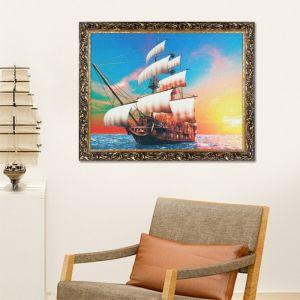 "Гобеленовая картина ""Корабль на закате"" 44x64 см, рама микс   1978099"