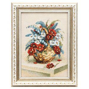 Гобеленовая картина 23х29см БУКЕТ В КОРЗИНЕ (Красные цветы) 4931203