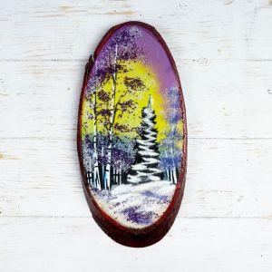 """Панно на спиле """"Зима"""", 32-36 см, каменная крошка, вертикальное 4022905"""