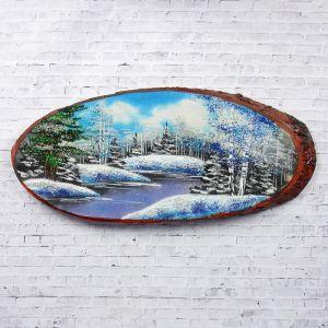 """Панно на спиле """"Зима"""", 60 см, каменная крошка, горизонтальное 2965341"""