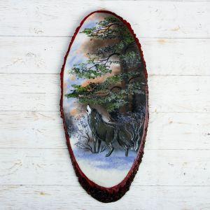 """Панно на спиле """"Зима. Волк"""", 57-62 см, каменная крошка, вертикальное 4022888"""