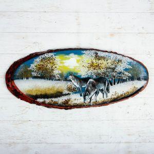 """Панно на спиле """"Зима. Волки"""", 75-79 см, каменная крошка, горизонтальное 4074807"""