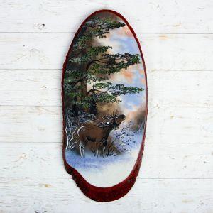 """Панно на спиле """"Зима. Лось"""", 57-62 см, каменная крошка, верикальное 4022892"""