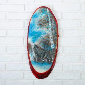 """Панно на спиле """"Зима.Волк"""", 52-56 см, каменная крошка, вертикальное 4163480"""