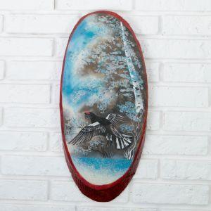 """Панно на спиле """"Зима.Глухарь"""", 52-56 см, каменная крошка, вертикальное 4163482"""