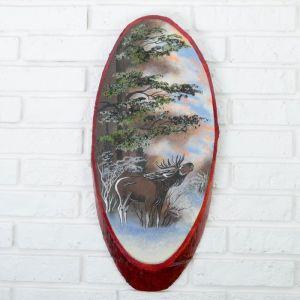 """Панно на спиле """"Зима.Лось"""", 52-56 см, каменная крошка, вертикальное 4163484"""