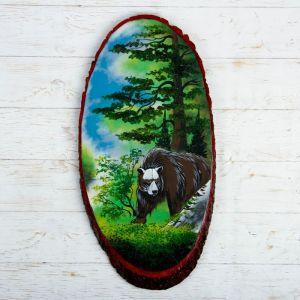 """Панно на спиле """"Лето. Медведь"""", 57-62 см, каменная крошка, вертикальное 4022891"""