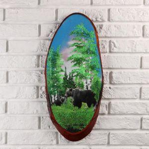 """Панно на спиле """"Мишка в лесу"""", 60 см, каменная крошка, вертикальное 4997463"""