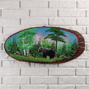 """Панно на спиле """"Мишка в лесу"""", 60 см, каменная крошка, горизонтальное 4973266"""