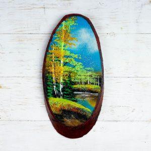 """Панно на спиле """"Осень"""", 32-36 см, каменная крошка, вертикальное 4022904"""