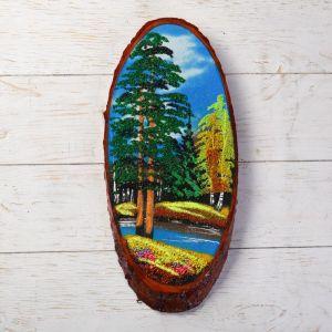 """Панно на спиле """"Осень"""", 40 см, каменная крошка, вертикальное 872720"""