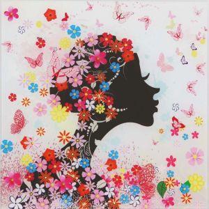 """Картина на стекле """"Девушка в цветах"""" незабудки"""
