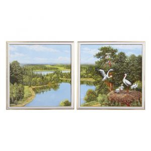 """Модульная картина """"Аисты у реки"""" 33*33-2, 33х66 см   4605670"""