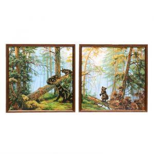 """Модульная картина в раме """"Мишки в лесу"""", 2 — 33?33 см, 33?66 см"""