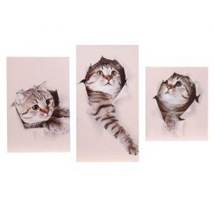 """Модульная картина на подрамнике """"Котята"""", 29?55 см, 29?45 см, 29?35 см, 90?56 см"""