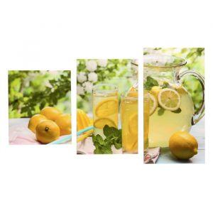"""Модульная картина на подрамнике """"Лимонный чай"""", 29?55 см, 29?45 см, 29?35 см, 90?56 см"""