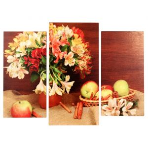 "Картина модульная на подрамнике  ""Цветы с яблоками"" (2-25х50, 30х60 см) 80х60 см   4685451"