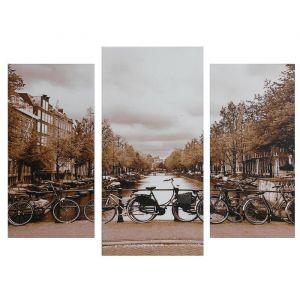 """Модульная картина на подрамнике """"Велосипеды"""", 2 шт. — 25?50, 1 шт. — 30?60, 60?80 см"""