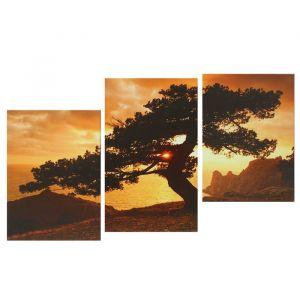 """Модульная картина на подрамнике """"Одинокое дерево в горах"""", 1 — 53?32, 2 — 45?32, 100?70 см"""