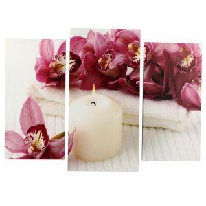 "Картина модульная на подрамнике ""Орхидеи со свечой"" (2-25х50, 30х60см) 80х60см   4685394"