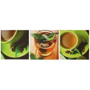 """Модульная картина на подрамнике """"Чашка чая"""", 3 шт. — 28?28 см, 28?84 см"""